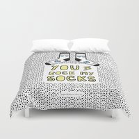 socks Duvet Covers featuring You rock my socks by Paper Dreams