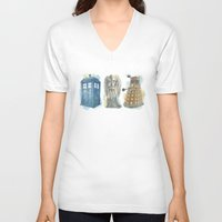 dr who V-neck T-shirts featuring Dr Who by Iris Illustration