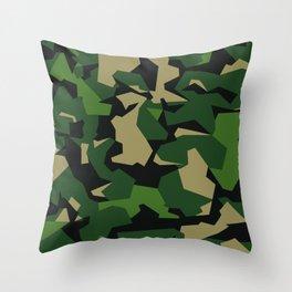 Camouflage Splinter Pattern Green Barret Throw Pillow