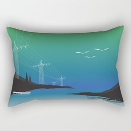Electric Wire Lake Cyan Rectangular Pillow