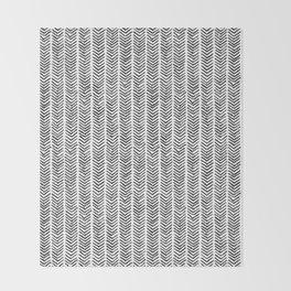 Black and white brush painted chevron Throw Blanket