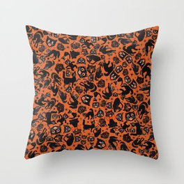 Halloween Cats on orange Throw Pillow