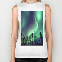 northern lights Biker Tanks featuring Northern Lights in Yellowknife by Vincent Demers