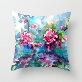 CHERRY TREE MIRRORING IN THE WATER - WATERCOLOR Throw Pillow
