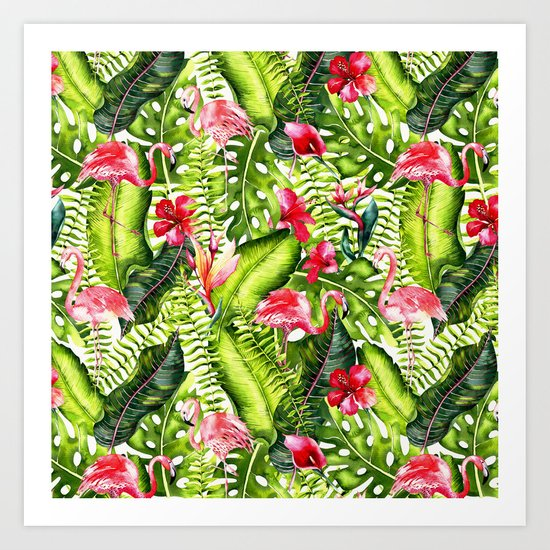 Aloha- Tropical Flamingo Bird and Hibiscus Palm Leaves Garden Art Print