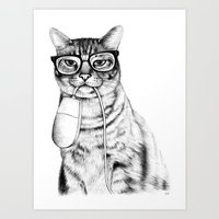 glasses Art Prints featuring Mac Cat by florever