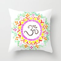 ohm Throw Pillows featuring Ohm / OM  by HollyJonesEcu