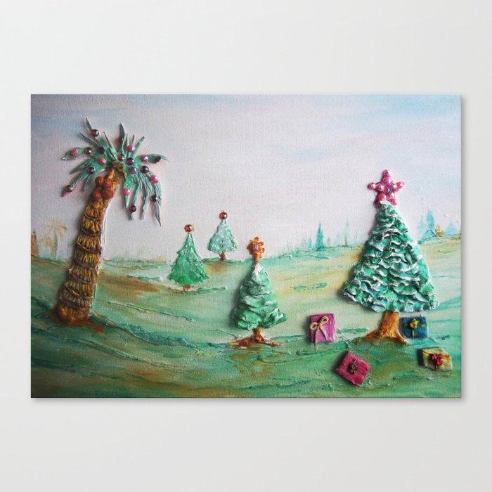 Tropical Christmas.Tropical Christmas Whimsical Scenery Canvas Print By Rokinronda