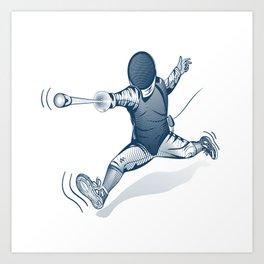 Fencer. Print for t-shirt. Vector engraving illustration. Art Print
