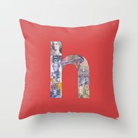 helvetica Throw Pillows featuring Helvetica by Riccardo Pallicelli