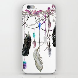 Raven Feathers And Roses Crystal Spirit Gazer iPhone Skin