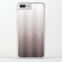 Zigzag.White, beige, gray, brown Ombre. Clear iPhone Case