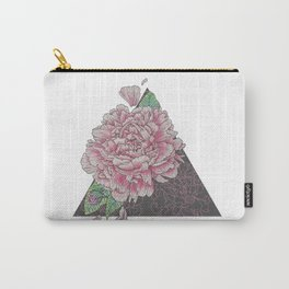 Pink Peony Geometric Floral Study, Illustrative Design Carry-All Pouch