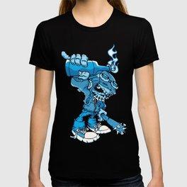 Anarchy Skeleton -  Iris Blue bottle fire skull T-shirt