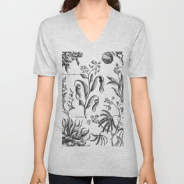 Antique Nepenthes and Drosera Print from 1757 Unisex V-Neck