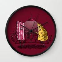 breakfast club Wall Clocks featuring Breakfast Club by Salih Gonenli