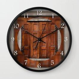 Old wooden shutters close window Wall Clock