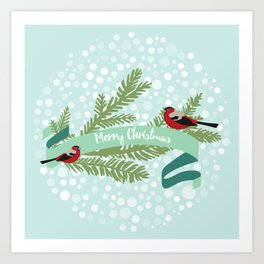 Bullfinches sitting on conifer branch Art Print