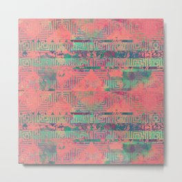 Abstract Coral and Aqua Tribal Metal Print