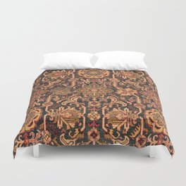 Floral Medallion I // 18th Century Colorful Blue Lime Green Pink Sapphire Plum Burlap Brown Pattern Duvet Cover