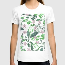 Forest green blush pink watercolor floral T-shirt