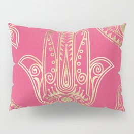 Neon pink faux gold inspirational Hamsa hand of Fatima Pillow Sham