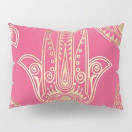 Neon pink faux gold inspirational Hamsa hand of Fatima Pillow Sham