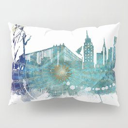 New York City Skyline blue Pillow Sham