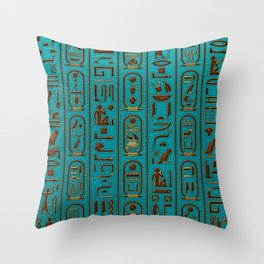 Egyptian Golden Leather hieroglyphs embossed on teal Throw Pillow