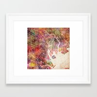tokyo Framed Art Prints featuring Tokyo by MapMapMaps.Watercolors