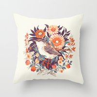 tea Throw Pillows featuring Wren Day by Teagan White