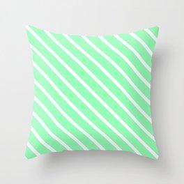 Mint Diagonal Stripes Throw Pillow