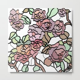 pattern of branches and roses 2 .  Pastel colors . Metal Print