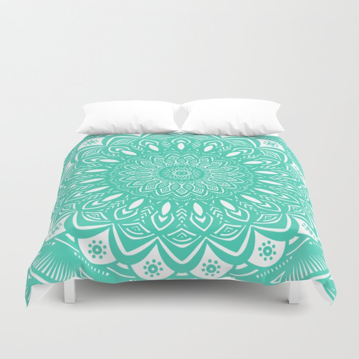 Minimal Aqua Seafoam Mint Green Mandala Simple Minimalistic Duvet Cover