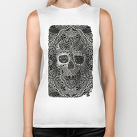 ali Biker Tanks featuring Lace Skull by Ali GULEC