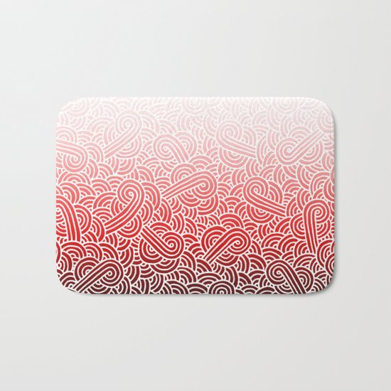 Ombre red and white swirls doodles Bath Mat