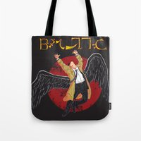 led zeppelin Tote Bags featuring Cas Zeppelin by DiHA