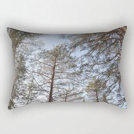 Spring sunny view of taiga forest Rectangular Pillow