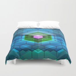 Contemporary abstract honeycomb, blue and green graphic grid with geometric shapes Duvet Cover