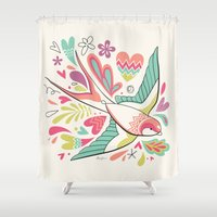 swallow Shower Curtains featuring spring swallow by Hi-deer