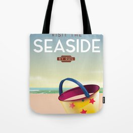 Visit the Seaside travel poster Tote Bag