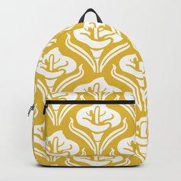 Calla Lily Pattern Mustard Yellow Backpack