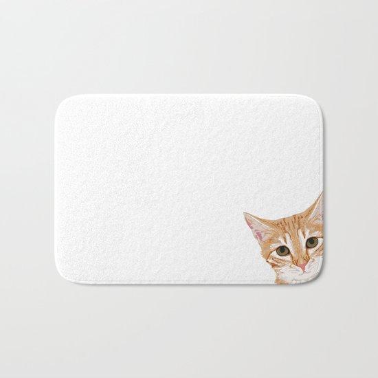 Peeking Orange Tabby Cat - cute funny cat meme for cat ladies cat people Bath Mat