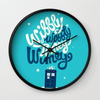 risa rodil Wall Clocks featuring Wibbly Wobbly Timey Wimey by Risa Rodil