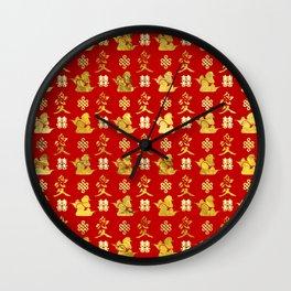 Mandarin Ducks, love and eternal knot pattern Wall Clock
