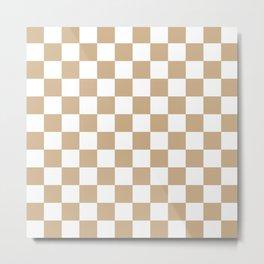 Checkered (Tan & White Pattern) Metal Print