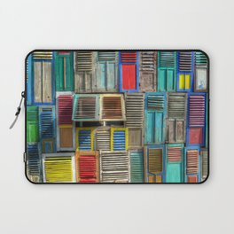 Colorful Shutters Beach Building Laptop Sleeve