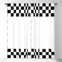 2 TONE WHITE AND BLACK Blackout Curtain