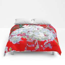 DELICATE RED & WHITE LACE FLORAL Comforters
