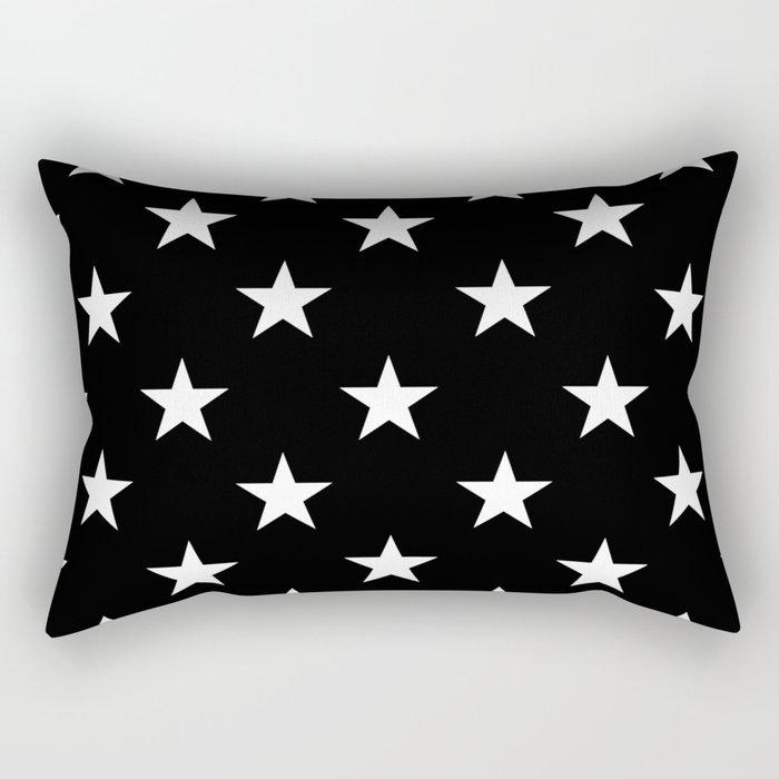 Stars (White/Black) Rectangular Pillow